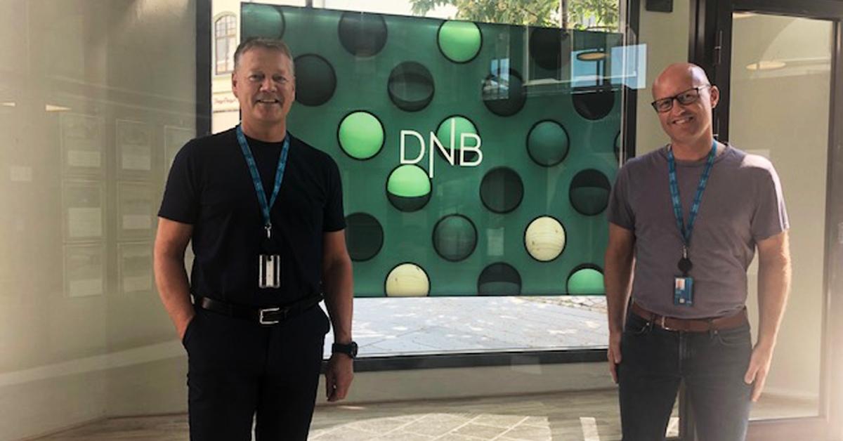 F.v. Påtroppende leder for DNB Bedriftsmarked, Roar Atle Juliebø, og kundeansvarlig for næringsliv, Thomas Skjong.